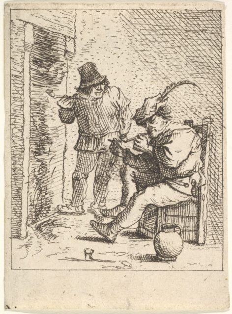 Two male peasants holding pipes before a fireplace, one seated with the pipe held to his mouth, to his left the other stands with the pipe in his right hand, after a series of four prints of peasants by David Teniers the Younger