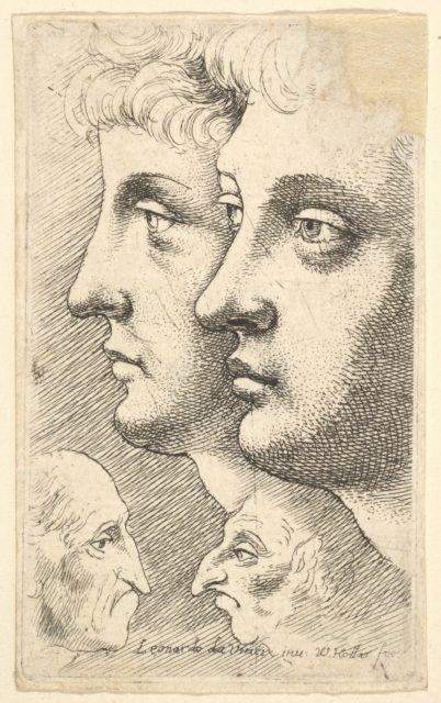 Two youths in profile to left with two grotesque heads facing each other below
