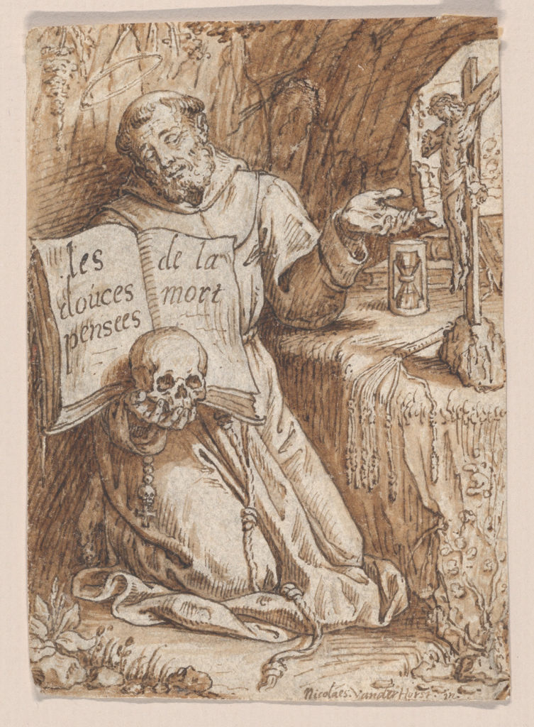 Saint Francis Kneeling in a Grotto, holding a Book and a Skull