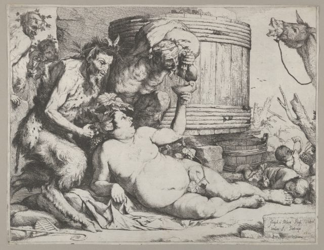 Drunken Silenus holding a cup aloft into which a Satyr pours wine