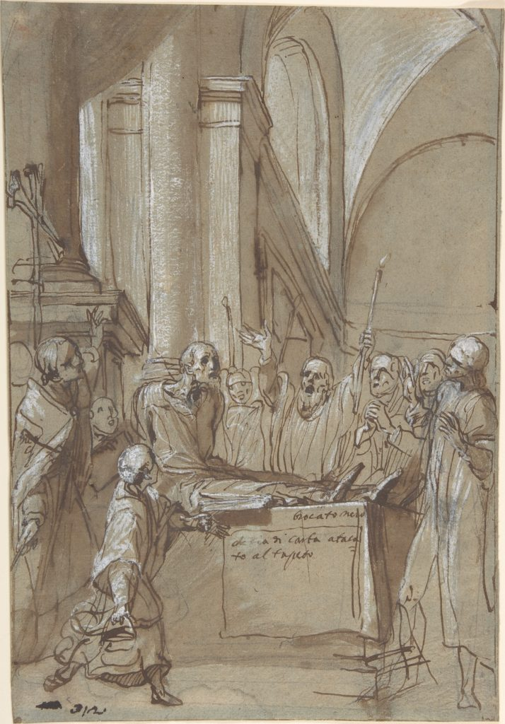 Raymond Diocrès Speaking During His Funeral (from the Life of Saint Bruno of Cologne)