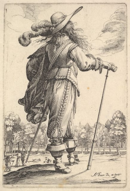 A gentleman, seen from behind, walking towards the right with a cane and wearing a plumed hat