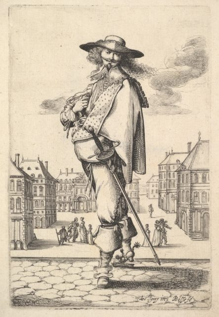 A gentleman, turned three-quarters to the left, wearing a hat and boots with spurs, carrying a sword in his belt, a town square in the background