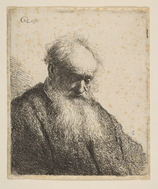 Bust of an Old Man with Flowing Beard: the Head Inclined Three-Quarters Right