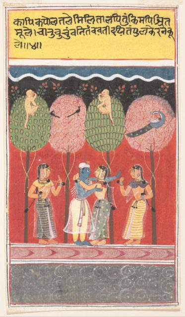 Krishna Revels with the Gopis: Page from a Dispersed Gita Govinda (Song of the Cowherds)