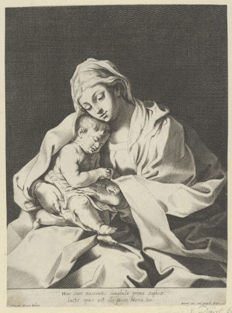 The Virgin holding the infant Christ on her lap, after Reni