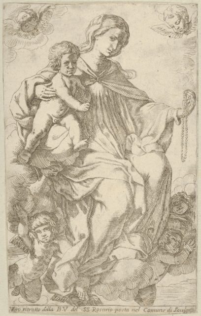 The Virgin in the clouds holding a rosary in her left hand and embracing the infant Christ, who also holds a rosary, angels surrounding them