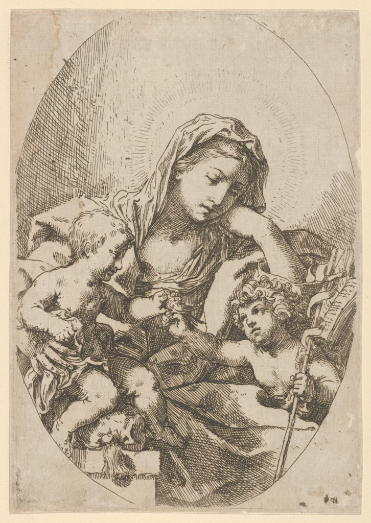 The Virgin with the Christ Child and the young Saint John the Baptist holding a bird at right, an oval composition, after Reni
