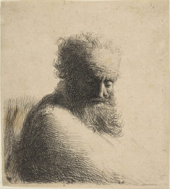 Bust of an Old Bearded Man Looking Down, Three-Quarters Right