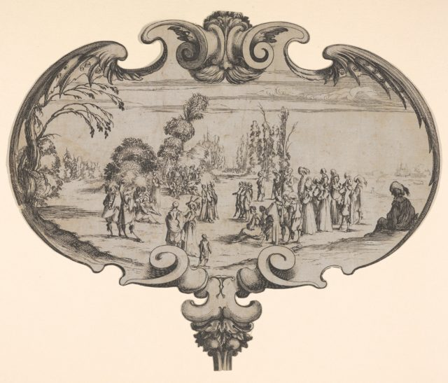 A fan with a musical troupe and spectators