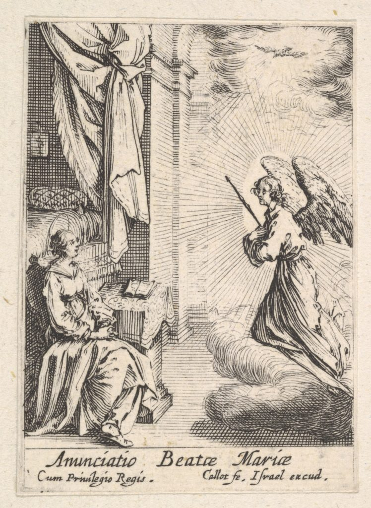 Annunciation, with angel approaching the seated Mary from the left, and the dove of the Holy Spirit above