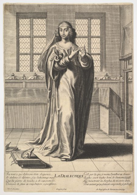 Dialectic: a young woman standing in a decorated interior and touching her right index finger to her left middle finger in a counting gesture, at her feet is a toad seated on a stack of books, from the series 'The liberal arts' (Les arts liberaux)