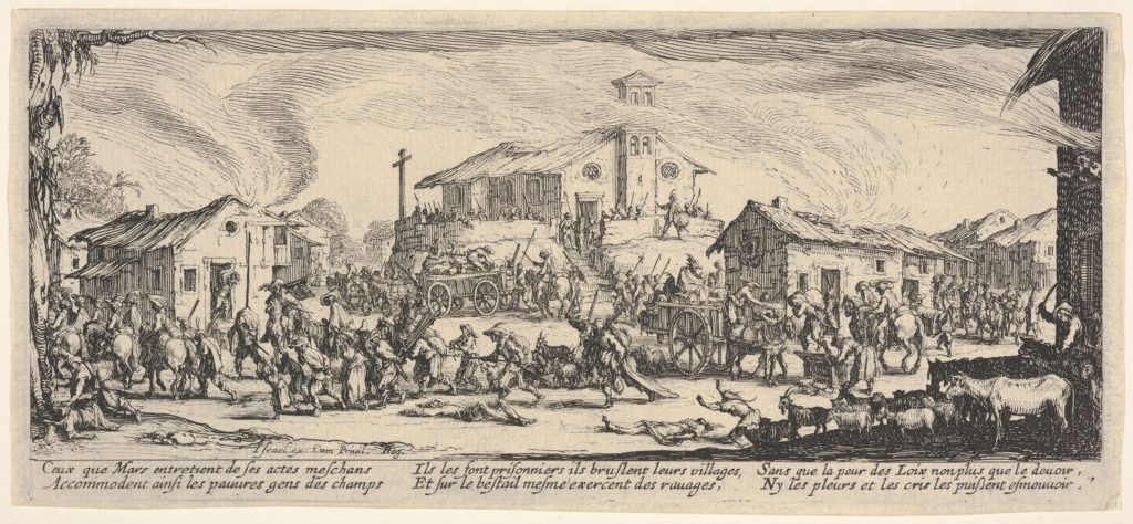 Plate 7: A town being sacked with church in the background, from 'The Large Miseries of War' (Les misères et les malheurs de la guerre)