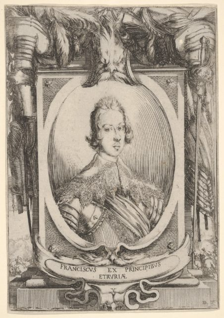 A portrait of Francesco de' Medici, within an oval frame, decorated with military equipment, battle scenes at bottom left and right outside of frame