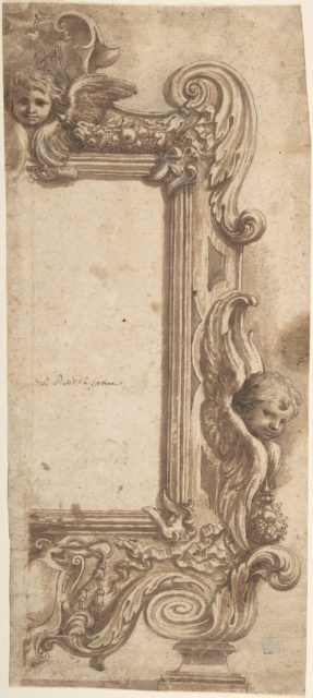 Design for a Half Frame Decorated with Angels, Volutes and Garlands.