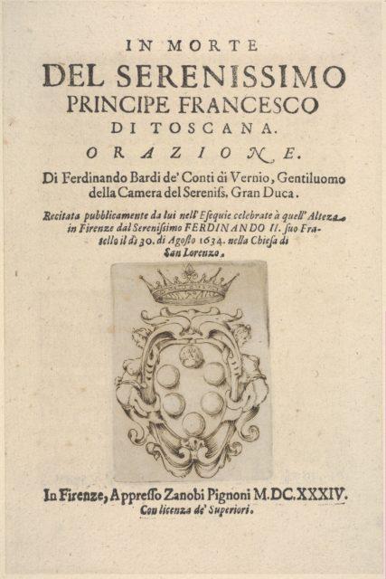 """Title page 2: Medici coat of arms in bottom center, from """"In Morte del Serenissimo Principe Francesco di Toscana, Orazione"""""""