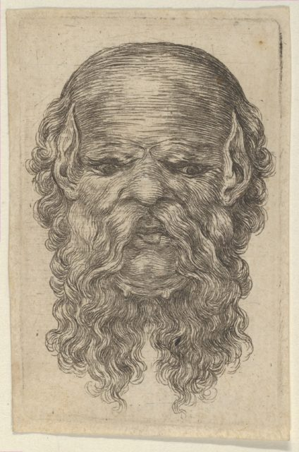 Mask of a Bald Man with Pointed Ears and a Long, Parted Beard, from Divers Masques