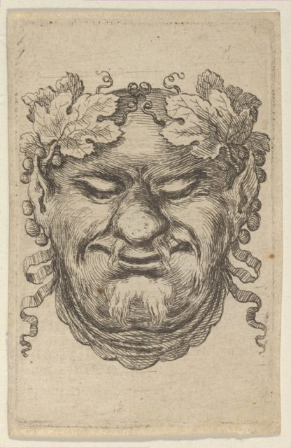 Mask of Bacchus with a Wreath of Grape Leaves and Ribbon, from Divers Masques