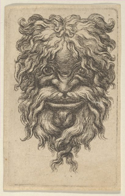 Mask with Curly Hair, a Long Mustache and a Loosely Twisted Beard, from Divers Masques