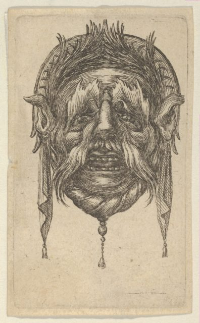 Mask with Long Eyebrows and Mustache and a Headdress with Dangling Cloth, from Divers Masques