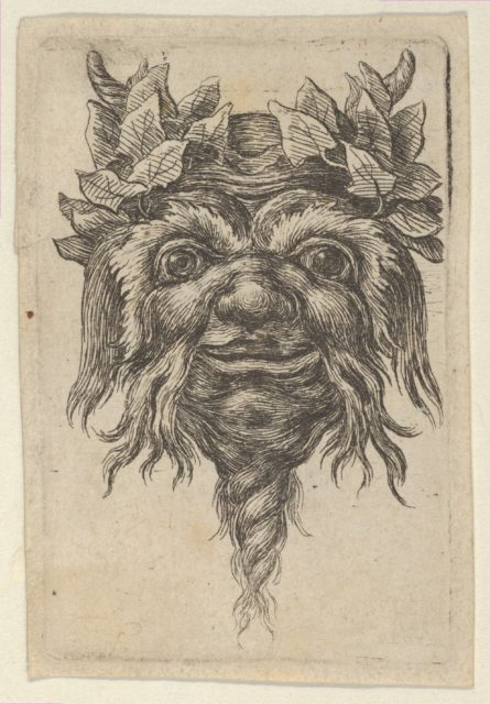 Satyr Mask with a Spiral-Shaped Beard and Ivy Grouped Around Each Horn, from Divers Masques