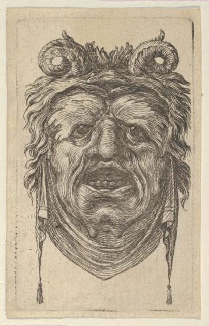 Satyr Mask with Curled Horns, Leafy Eyebrows and a Cloth Hanging Beneath the Chin, from Divers Masques