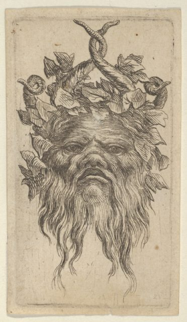 Satyr Mask with Hooked Horns and an Ivy Wreath, from Divers Masques