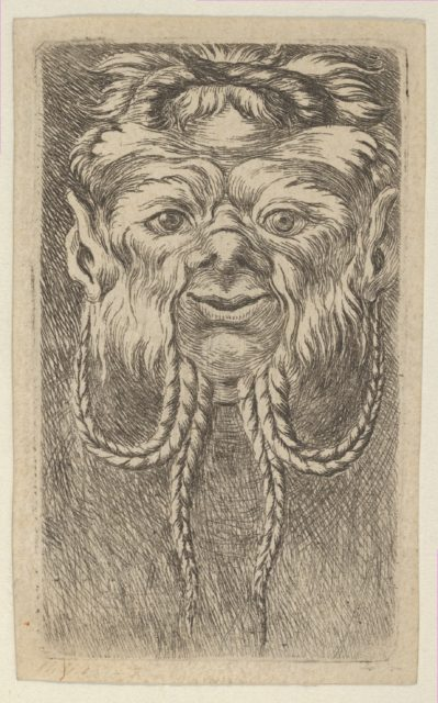 Satyr Mask with Overlapping Horns and Four Braided Strands of Beard, from Divers Masques