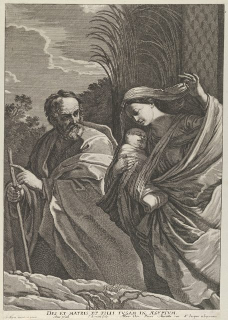 The Flight into Egypt; the Virgin carrying the infant Christ, Joseph pointing to the left, trees behind them, after Reni