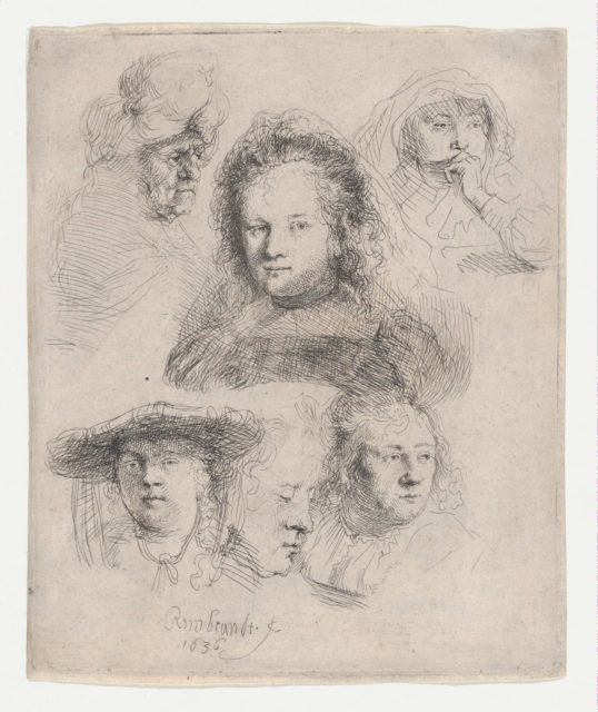 Studies of the Heads of Saskia and Others