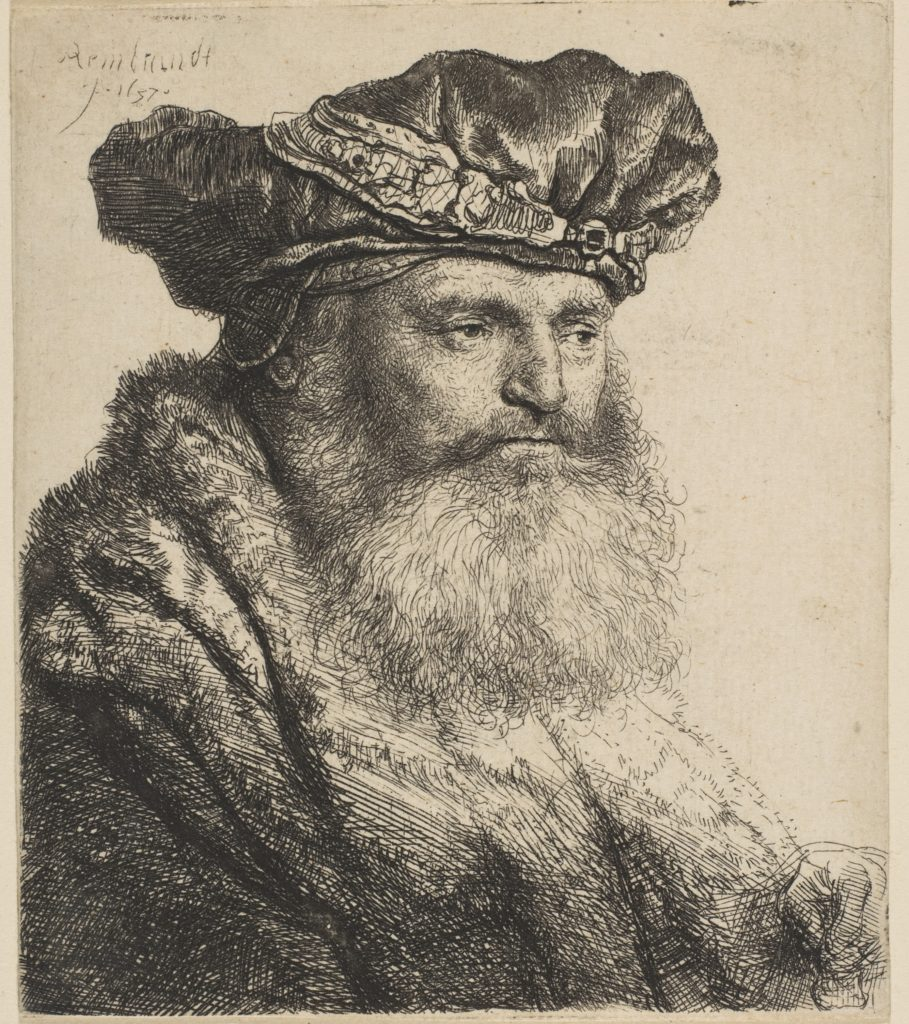 Bearded Man in a Velvet Cap with a Jewel Clasp