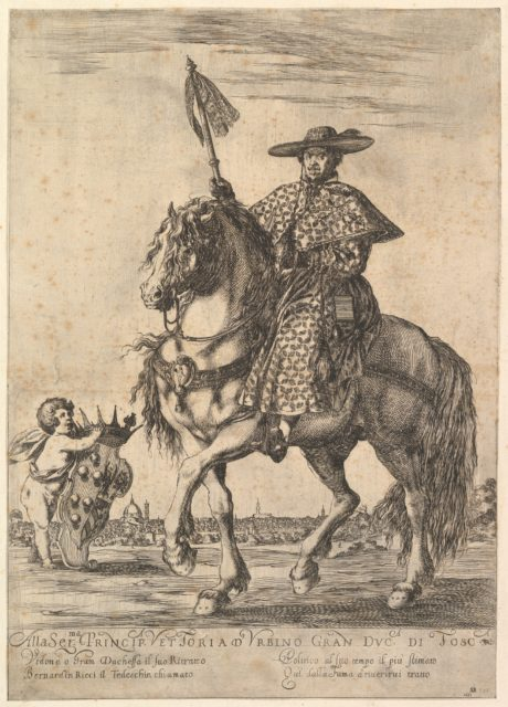 Bernardino Ricci, called il Tedeschino, atop a horse in center, riding towards the left, wearing a long robe, a cape, and a hat, holding a staff in his right hand, a putto holding the Medici coat of arms at bottom left, Florence in the background