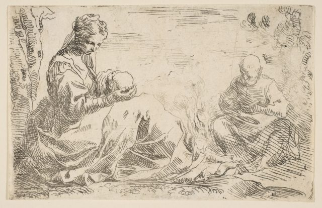 Rest on the flight into Egypt, Mary holding and looking at the infant Christ while St. Joseph reads