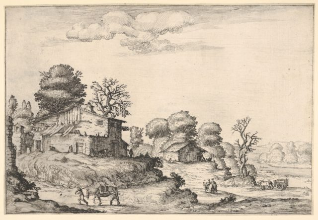 Landscape with peasant dwellings and a man leading a horse in the left foreground, from a series of landscapes dedicated to the Grand Duke of Tuscany