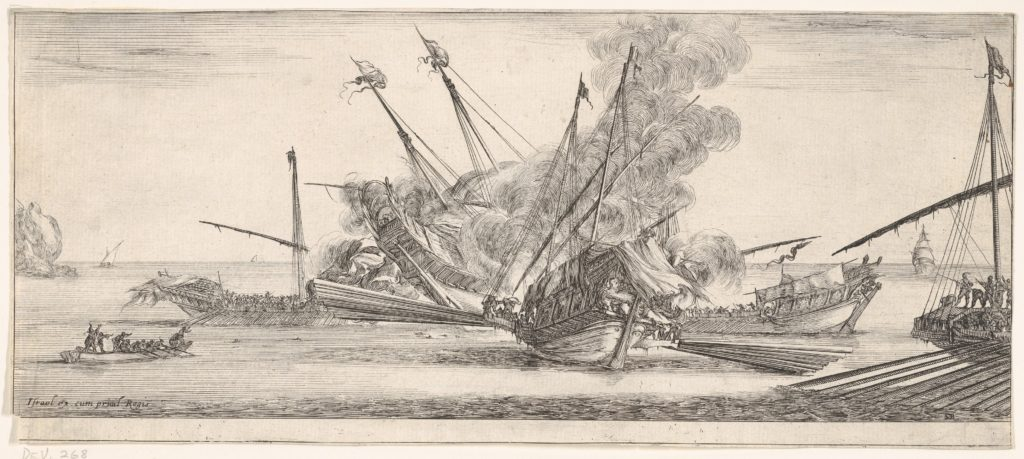 Naval combat, a ship at center, seen from behind, firing at four enemy ships, another ship entering from the right, a rowboat with nine people to left, from 'Peace and War' (Divers desseins tant pour la paix que pour la guerre)