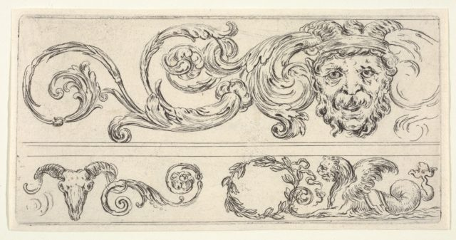 Plate 2: three fragments of friezes; on top, a grotesque head of a man, a skull of a ram at bottom left and a chimera at bottom right, from 'Friezes, foliage, and grotesques' (Frises, feuillages et grotesques)