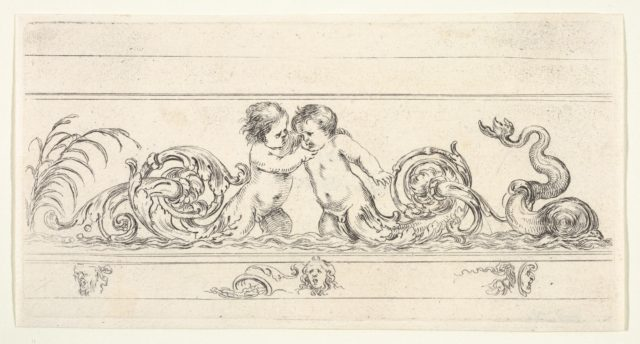 Plate 3: two infants standing in the water at center with their legs as scrollwork, below three small sketches of heads, from 'Friezes, foliage, and grotesques' (Frises, feuillages et grotesques)