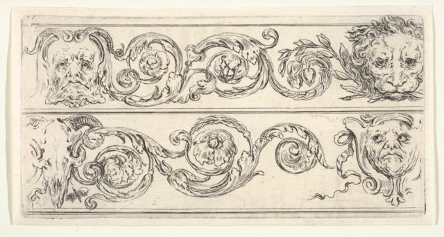 Plate 5: two friezes; at top, a grotesque head of an old man to left, a lion head to right, at bottom, a ram skull to left, a grotesque head of a man to right, from 'Friezes, foliage, and grotesques' (Frises, feuillages et grotesques)
