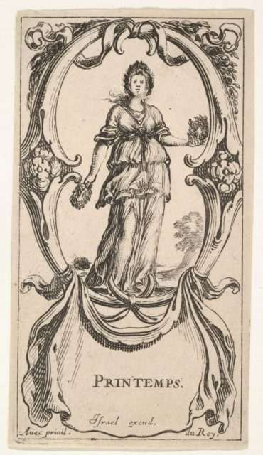 Spring, a young girl within a wreath of flowers in each hand and another on her head, within a cartouche made of flowers, from 'The four Seasons' (Les quatre Saisons)