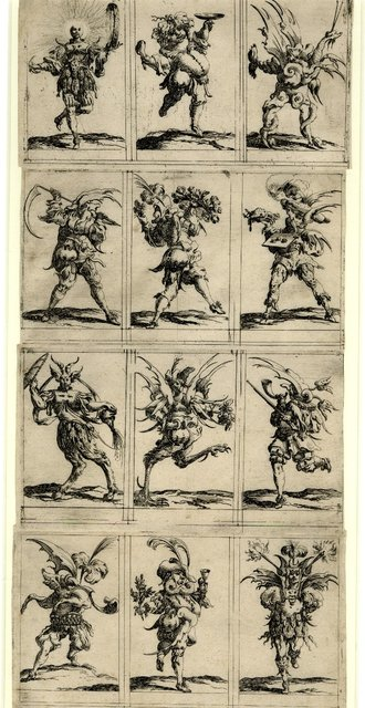 Set of twelve grotesque figures representing the twelve months of the year 1638 Denis Boutemie