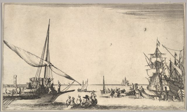 A galley arriving at port to left, several rowboats in center, ships at port to right, from 'Set of eight nautical landscapes' (Suite de huit Marines)