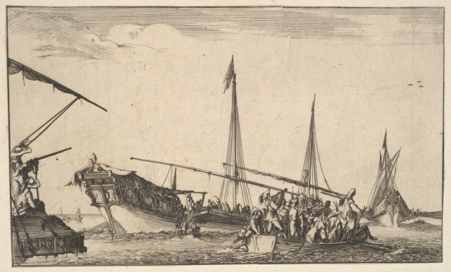 A rowboat full of men at right, a ship with men descending into a rowboat behind to left, two men with a shotgun on a ship to left, another ship to far right in the background, from 'Set of eight nautical landscapes' (Suite de huit Marines)