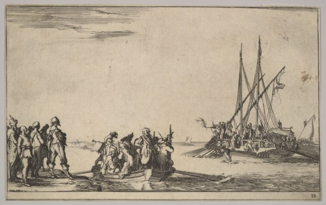 A rowboat full of men in center, a group of men standing on shore at left, a ship full of men, one firing a pistol, at right, from 'Set of eight nautical landscapes' (Suite de huit Marines)