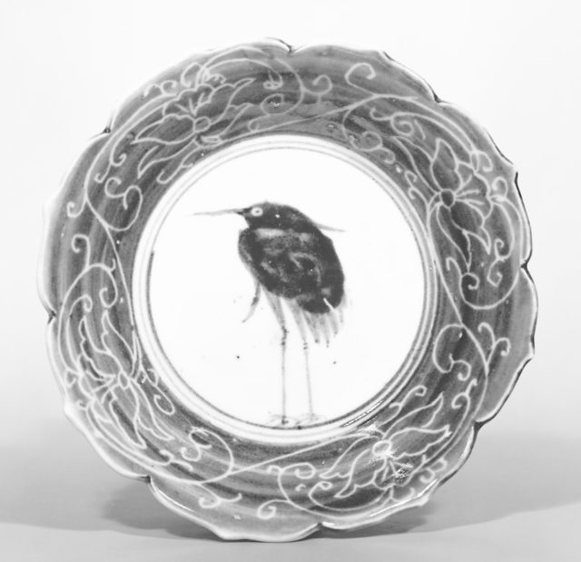 Deep Dish with Egret (from a set of ten)