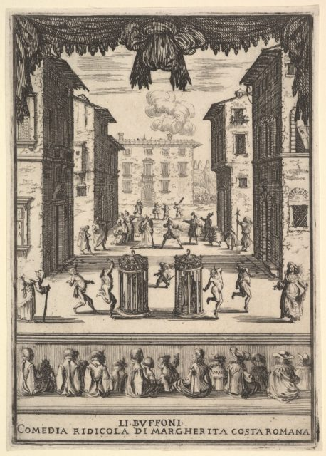 Frontispiece for the comedy 'The Buffoons' (Li Buffoni), a set on stage resembling a public space, various figures dancing around two people in cages in center stage, fifteen spectators below