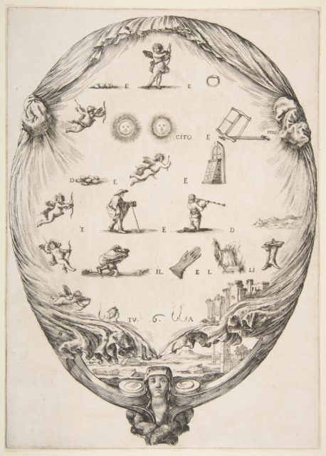 Rébus on the subject of love, a riddle depicted on drapery, below a landscape with a pyramid and two obelisks, a bust of a sphinx at bottom, an oval composition