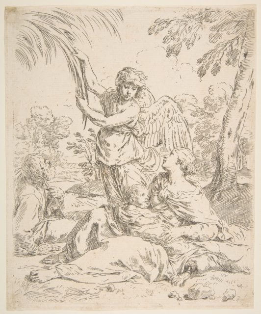 Repose in Egypt, Mary nursing the infant Christ while an angel pulls at tree branches