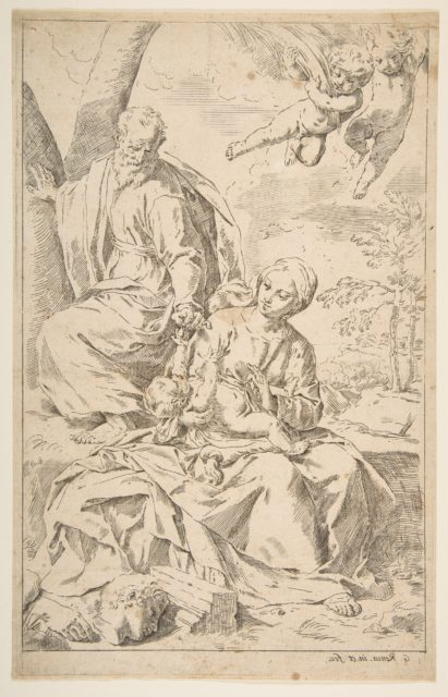 Rest on the flight into Egypt, Mary holding the infant Christ while St. Joseph hands him a fruit