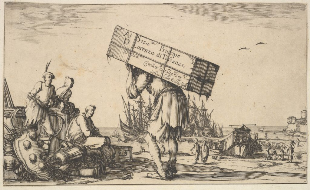 Title page: a man carrying a case on his back in center, three men looking towards him on left, Medici coat of arms on ground to left, various boats and figures to right in the background, from 'Set of eight nautical landscapes' (Suite de huit Marines)