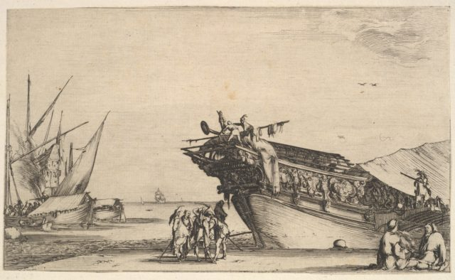 Two men sitting to right, one man is smoking, five men standing in center, the bow of a ship on shore to right, two other ships to left in the background, from 'Set of eight nautical landscapes' (Suite de huit Marines)